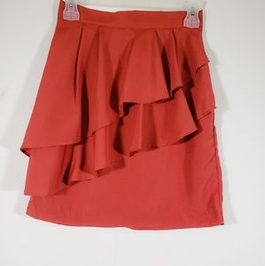 H&M Orange Ruffle Mini Skirt Size 4